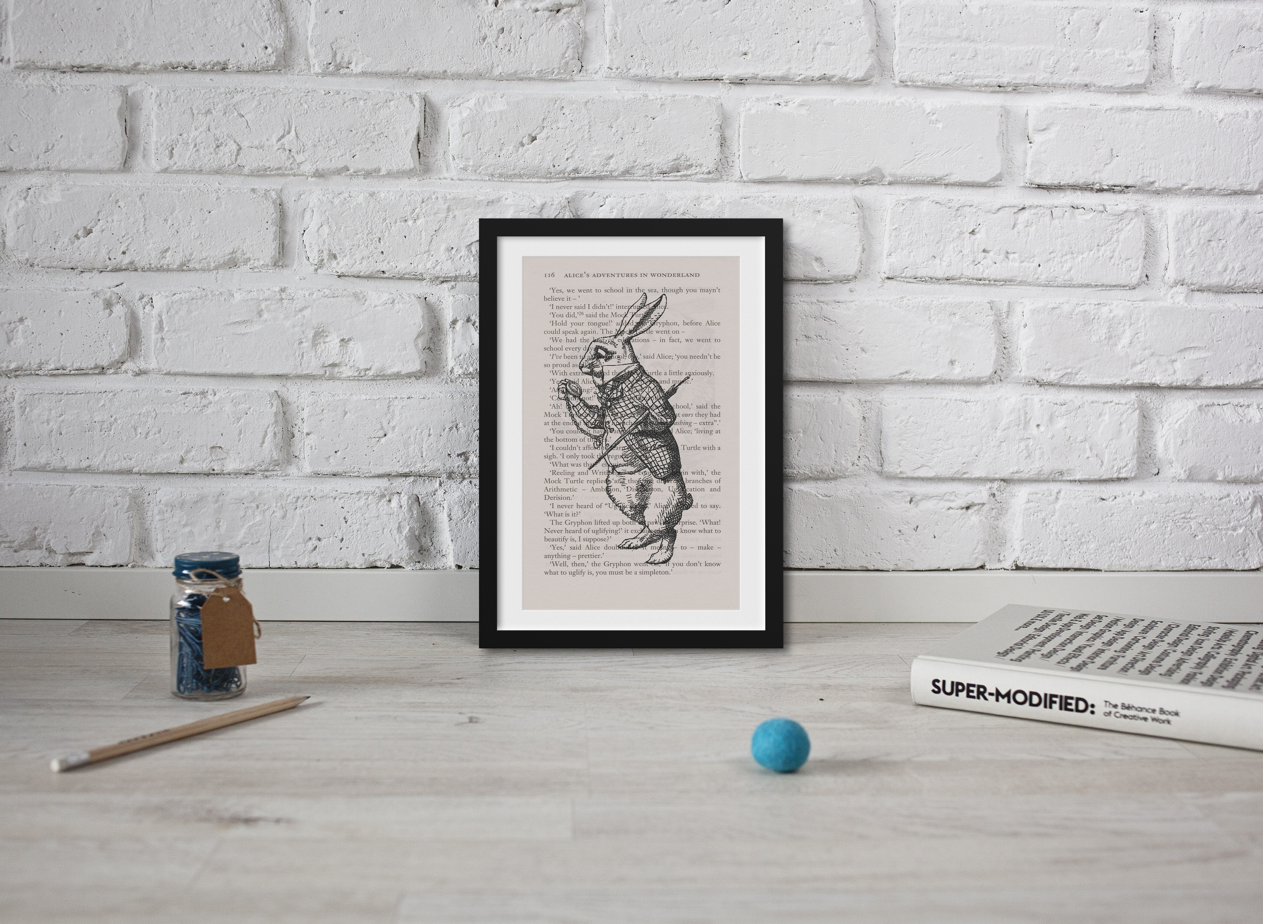 Alice in Wonderland Book Page Art The March Hare Art Print