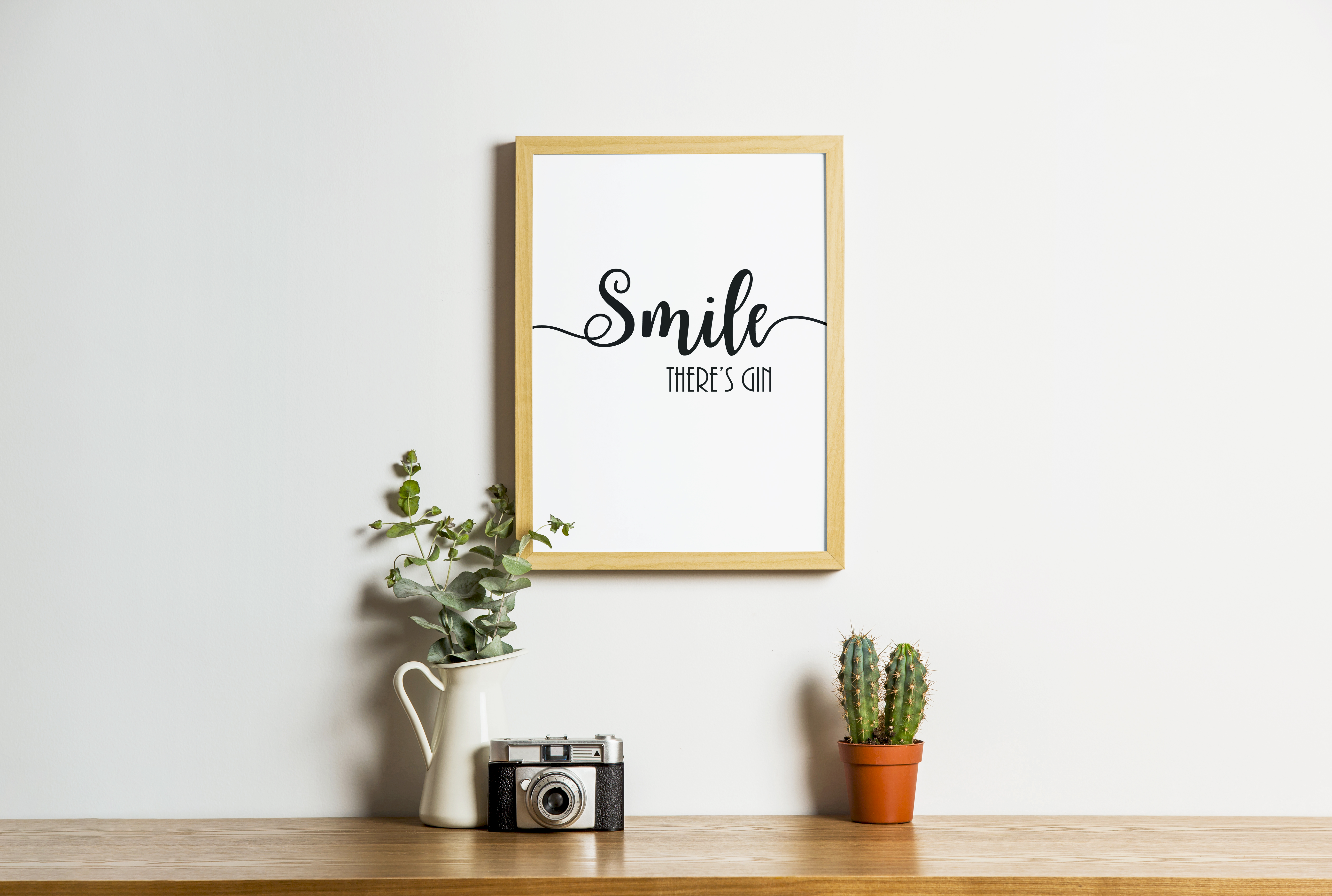 SMILE THERES GIN Funny Poster Wall Print A4 Or A3 Size Great Gift ...