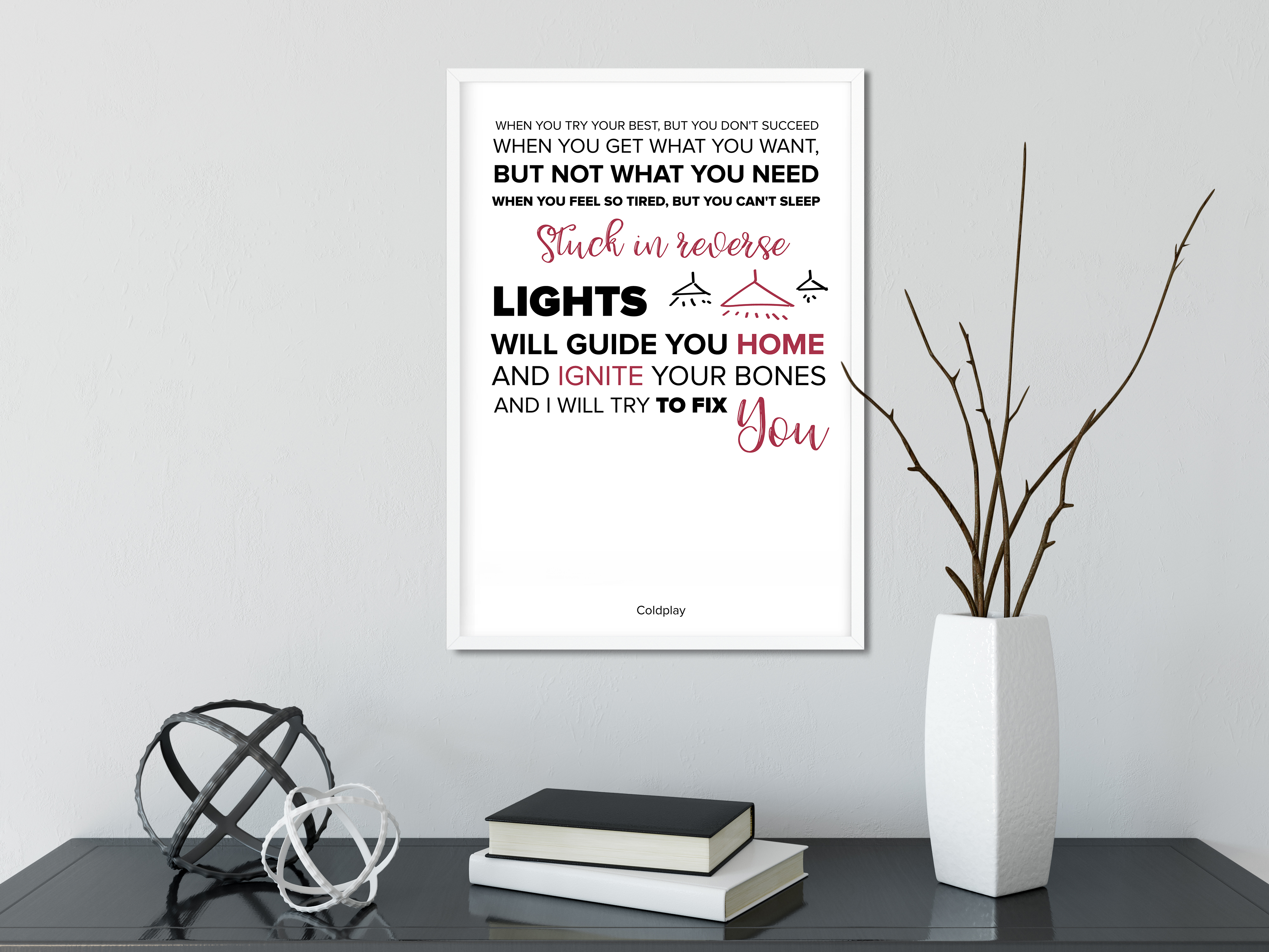 Coldplay Fix You Quote Print From Lyrics Of The Song On A4 Original ...