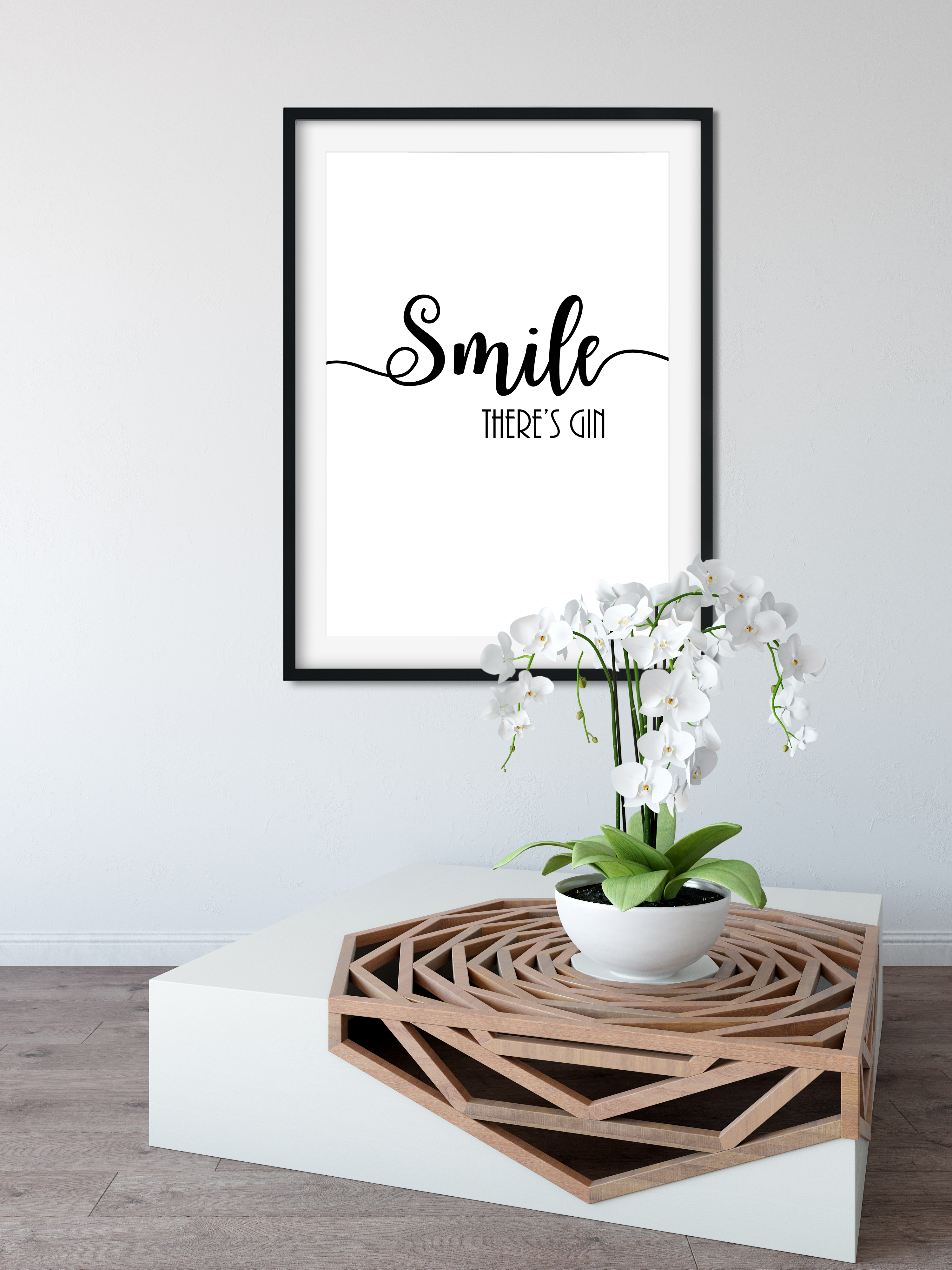 Smile theres gin funny poster wall print a4