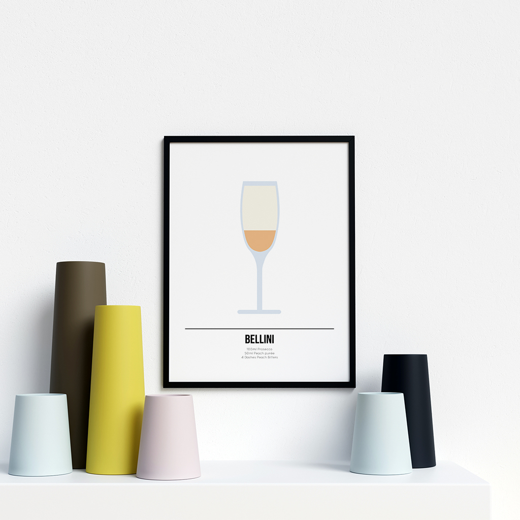 Bellini Cocktail Poster Prosecco Lover Print Drinks Recipe Art Gift Best Friend