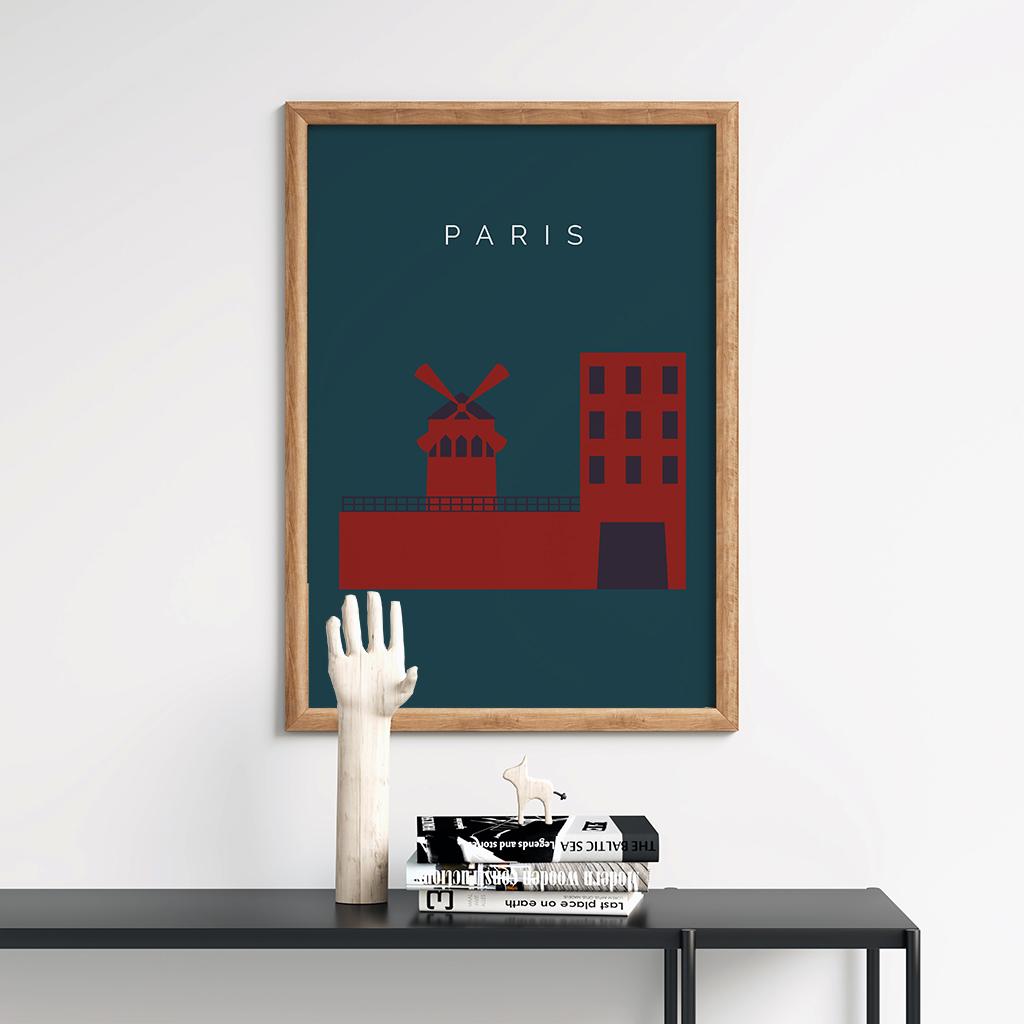 Paris Landmark Print Artwork Retro Minimalist Paris Poster Moulin Rouge
